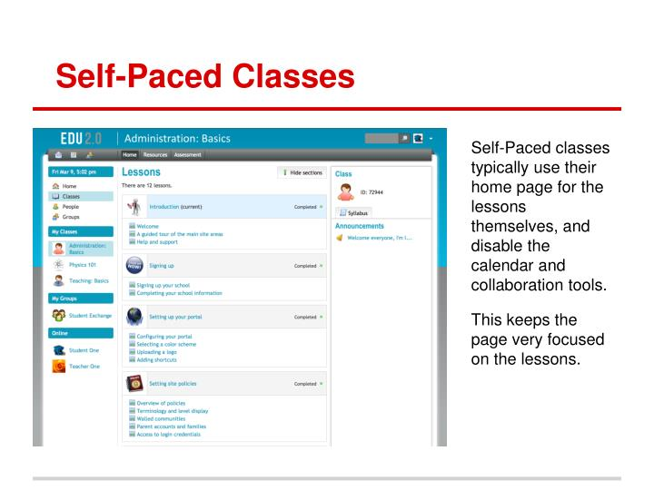 Self-Paced Classes