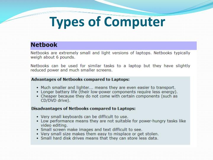 types and components of computer systems 1 types and components of computers the syllabus that you sould be able to.