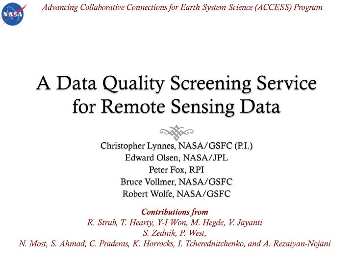 a data quality screening service for remote sensing data n.