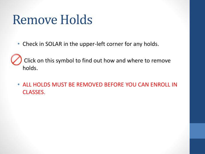Remove Holds