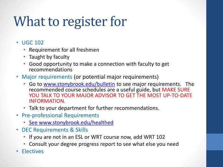 What to register for