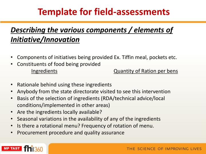 Template for field-assessments