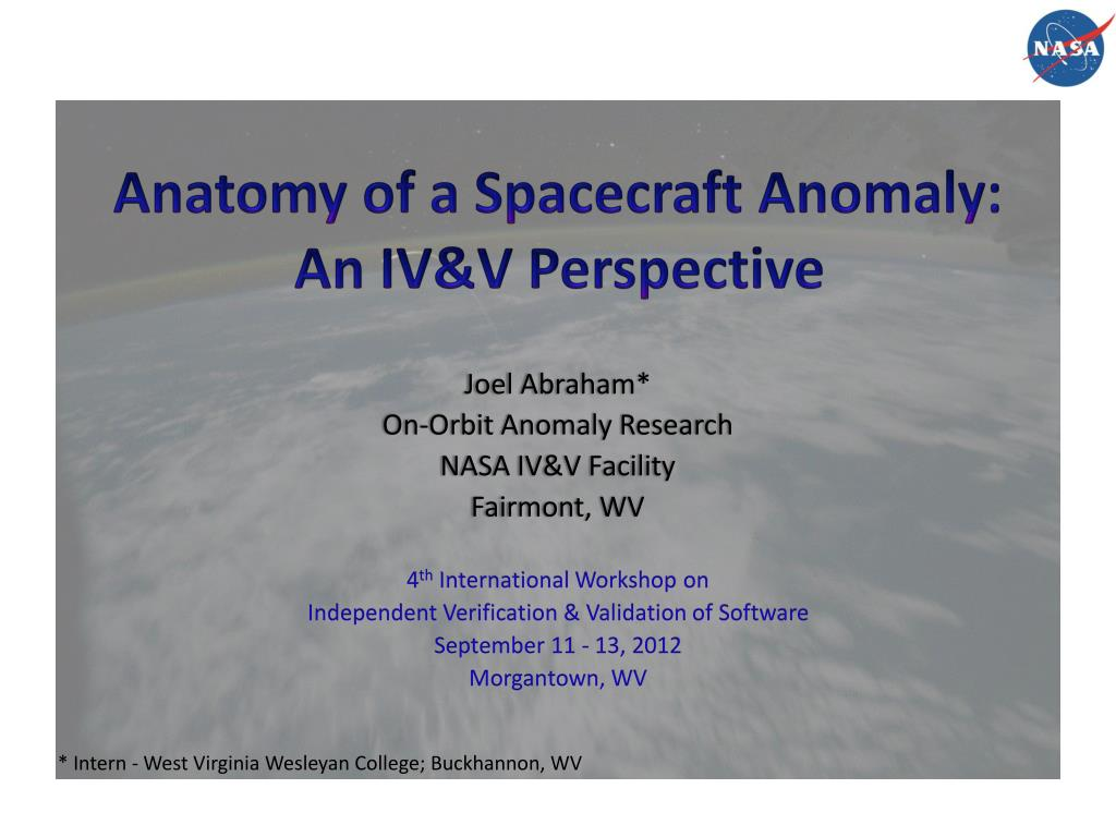 Anatomy of a spacecraft anomalyan ivv perspective joel