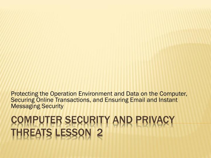 Computer security and privacy threats lesson 2