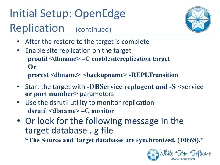 Initial Setup: OpenEdge Replication