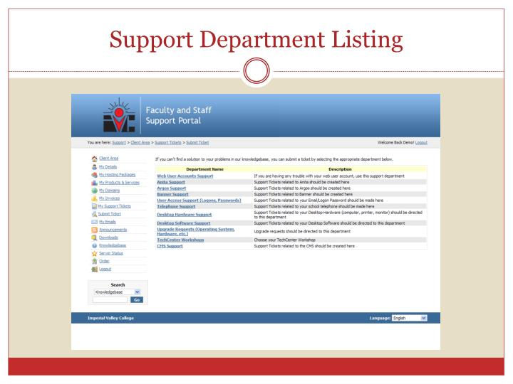Support Department Listing