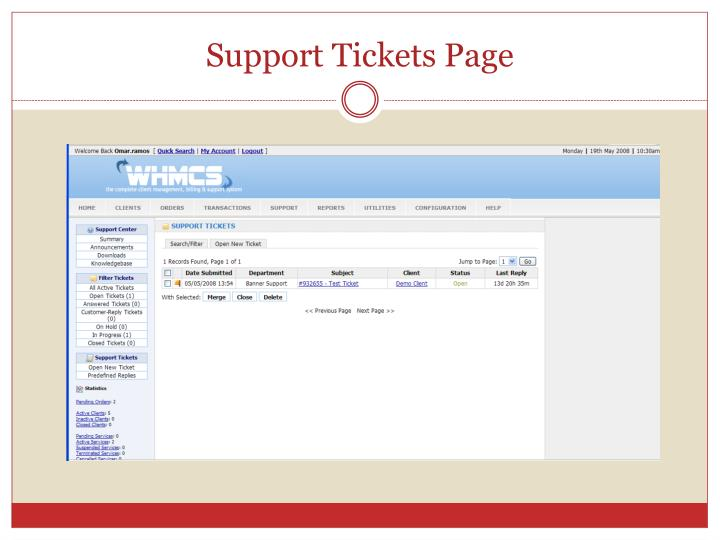 Support Tickets Page