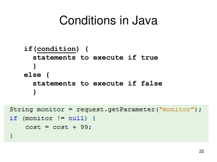 Conditions in Java