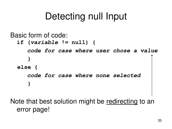 Detecting null Input