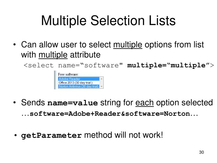 Multiple Selection Lists