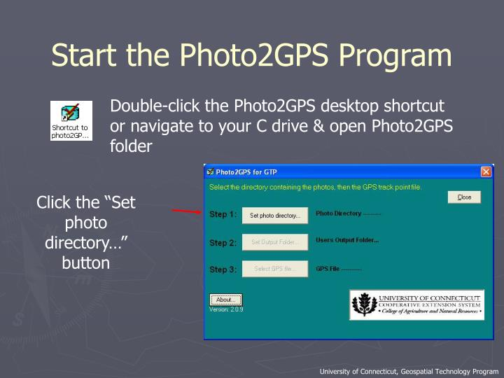 Start the Photo2GPS Program