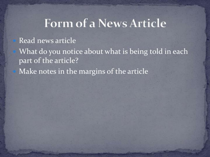 Form of a News Article