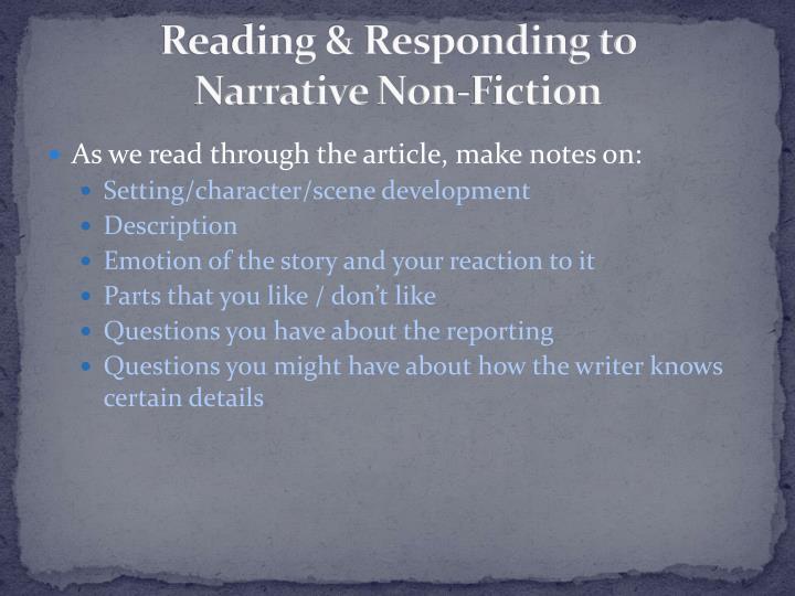 Reading & Responding to