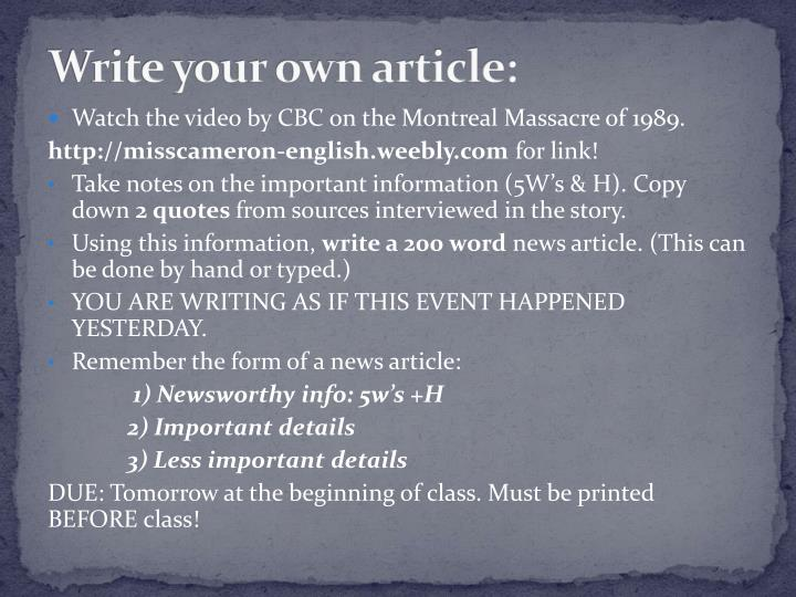 Write your own article: