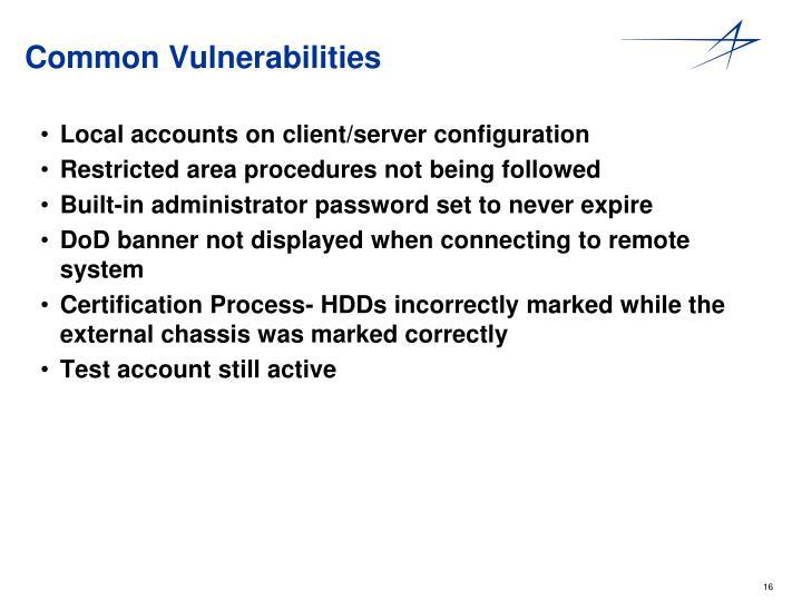 Common Vulnerabilities