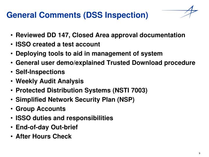 General Comments (DSS Inspection)