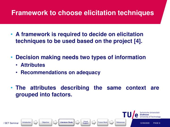 framework to choose elicitation techniques