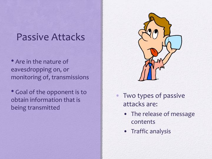 Two types of passive attacks are: