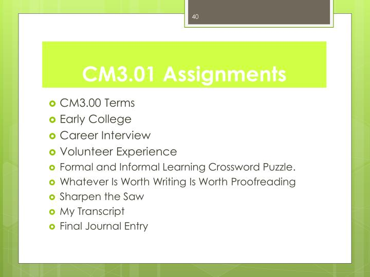 CM3.01 Assignments