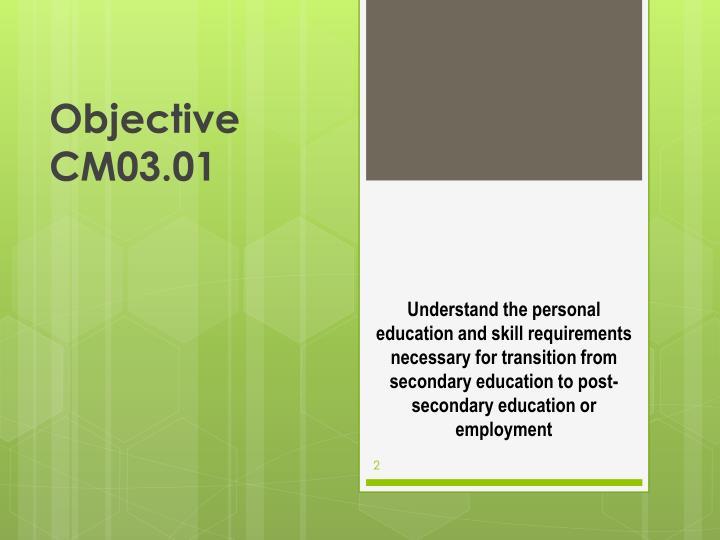 Objective cm03 01