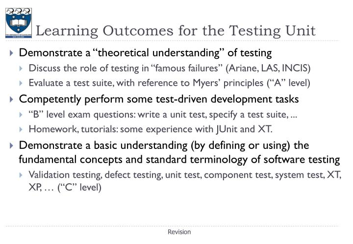 Learning outcomes for the testing unit