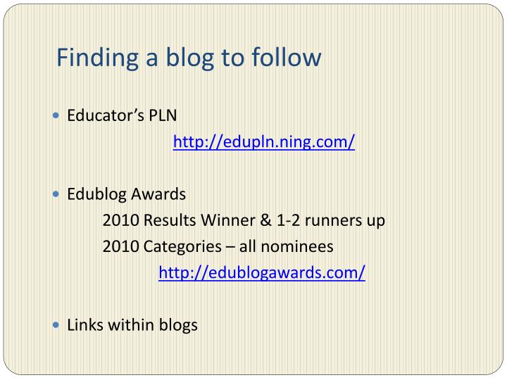Finding a blog to follow