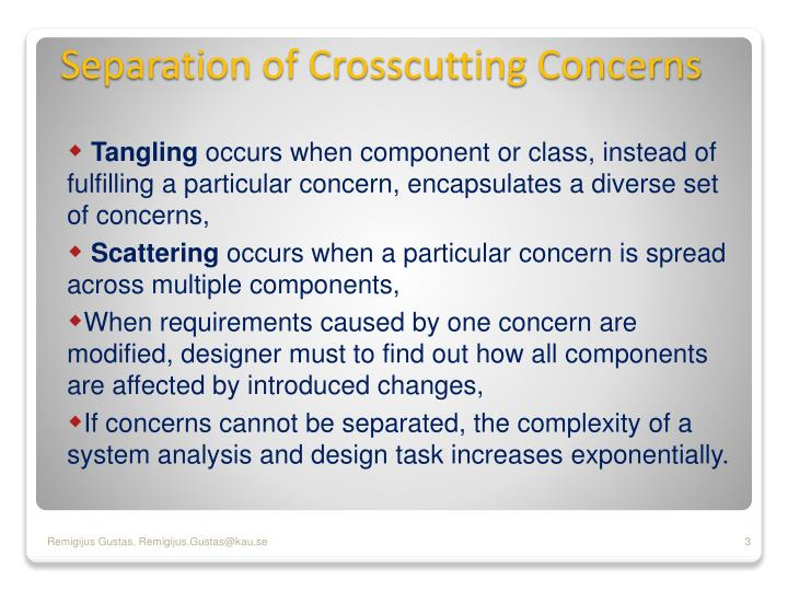Separation of crosscutting concerns