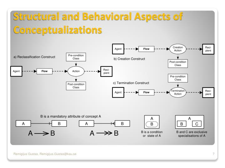 Structural and Behavioral Aspects of Conceptualizations