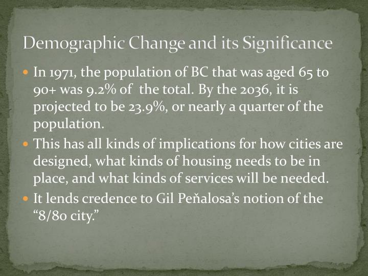 Demographic change and its significance
