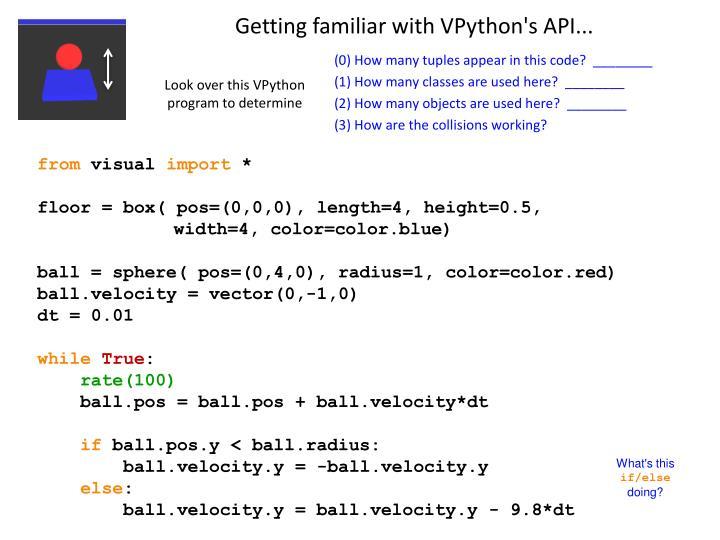 Getting familiar with VPython's API...