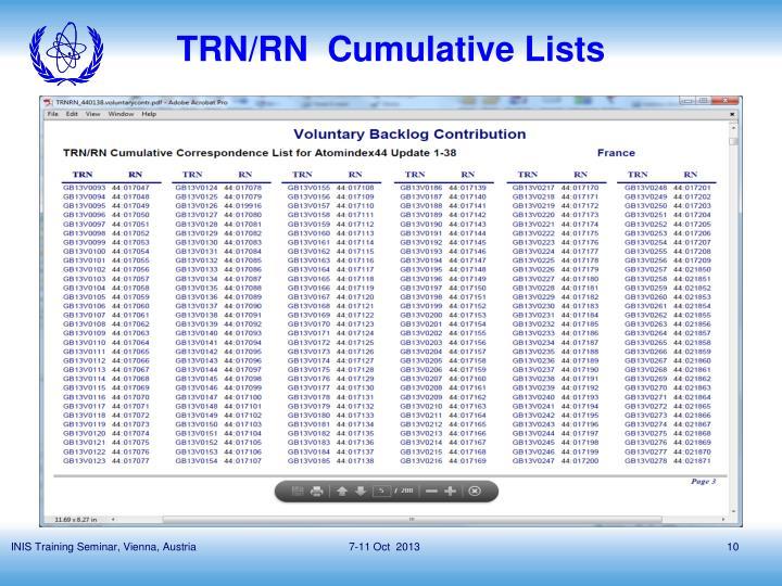 TRN/RN  Cumulative Lists