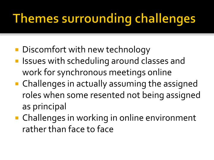 Themes surrounding challenges