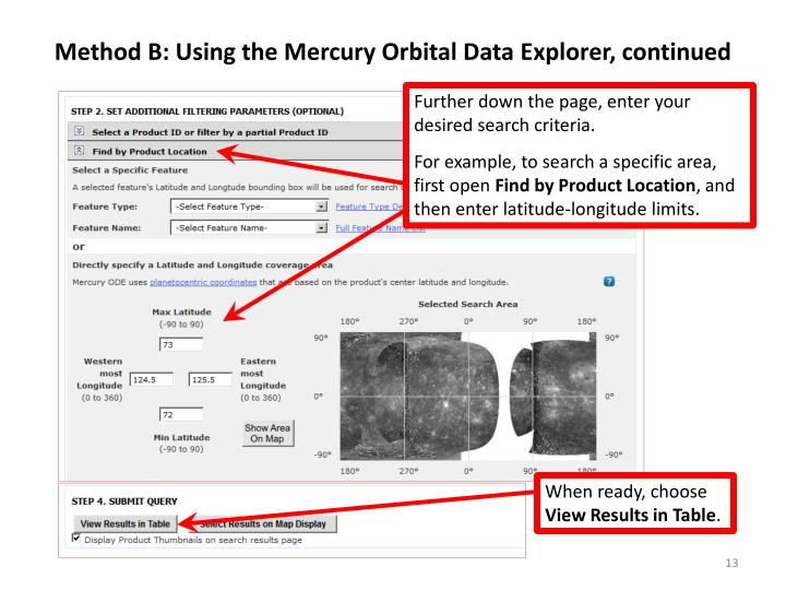Method B: Using the Mercury Orbital Data