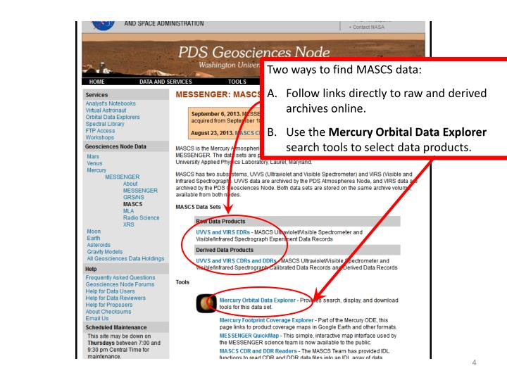 Two ways to find MASCS data: