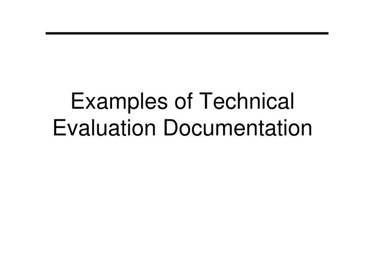 Ppt  Examples Of Technical Evaluation Documentation Powerpoint
