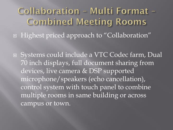 Collaboration – Multi Format – Combined Meeting Rooms