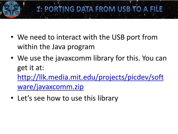 1: Porting data from