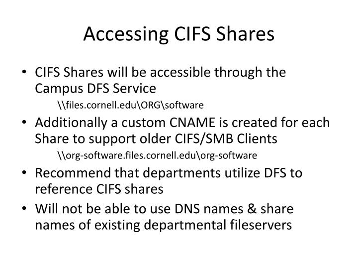 Accessing CIFS Shares