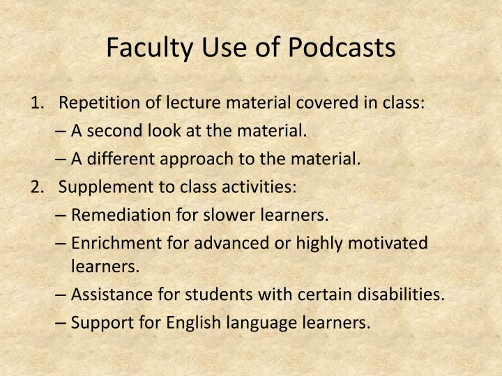 Faculty Use of Podcasts