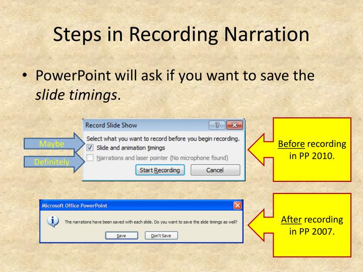 Steps in Recording Narration