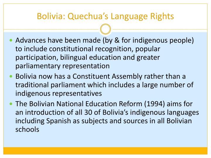 Bolivia: Quechua's Language Rights