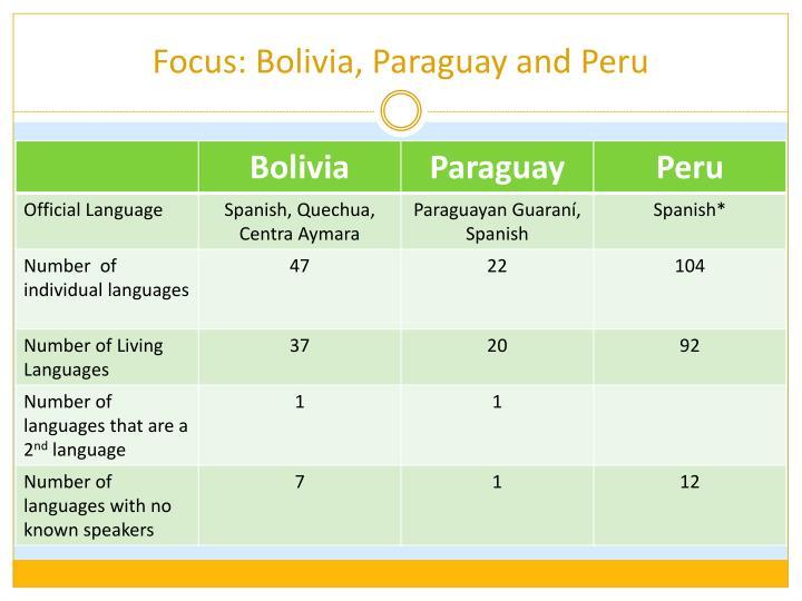 Focus: Bolivia, Paraguay and Peru
