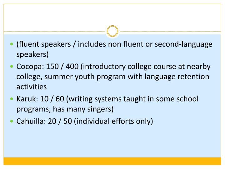 (fluent speakers / includes non fluent or second-language speakers)