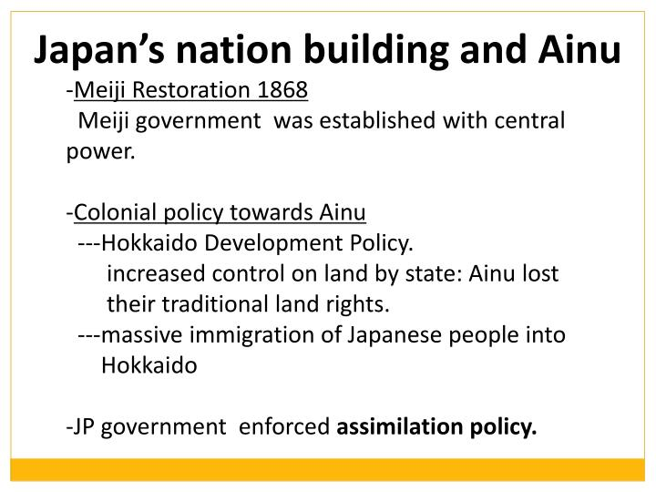 Japan's nation building and Ainu