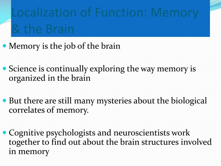 biological influences on the memory Explain how biological factors (these studies) affect cognition (memory)   anderson and pitchert study (1978): if schema processing influences processing  and.