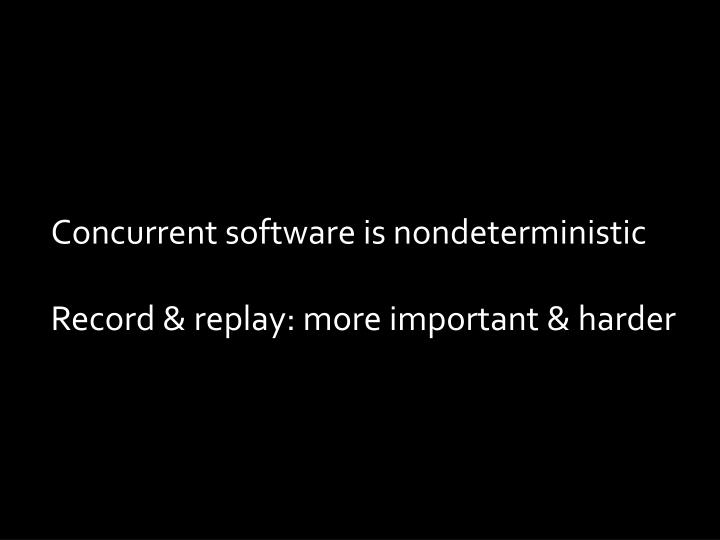 Concurrent software is nondeterministic