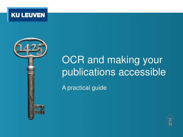 ocr and making your publications accessible n.