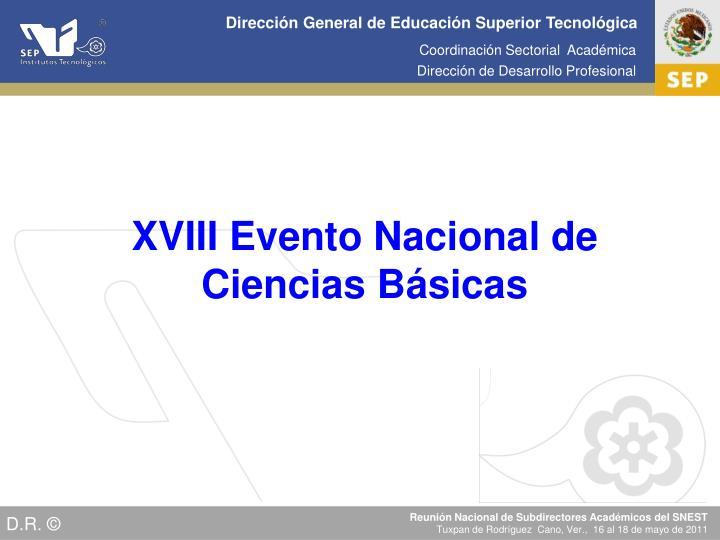 XVIII Evento Nacional de Ciencias Básicas