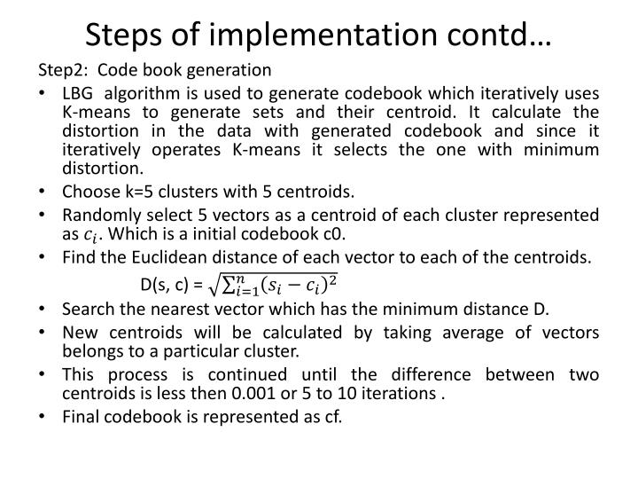 Steps of implementation