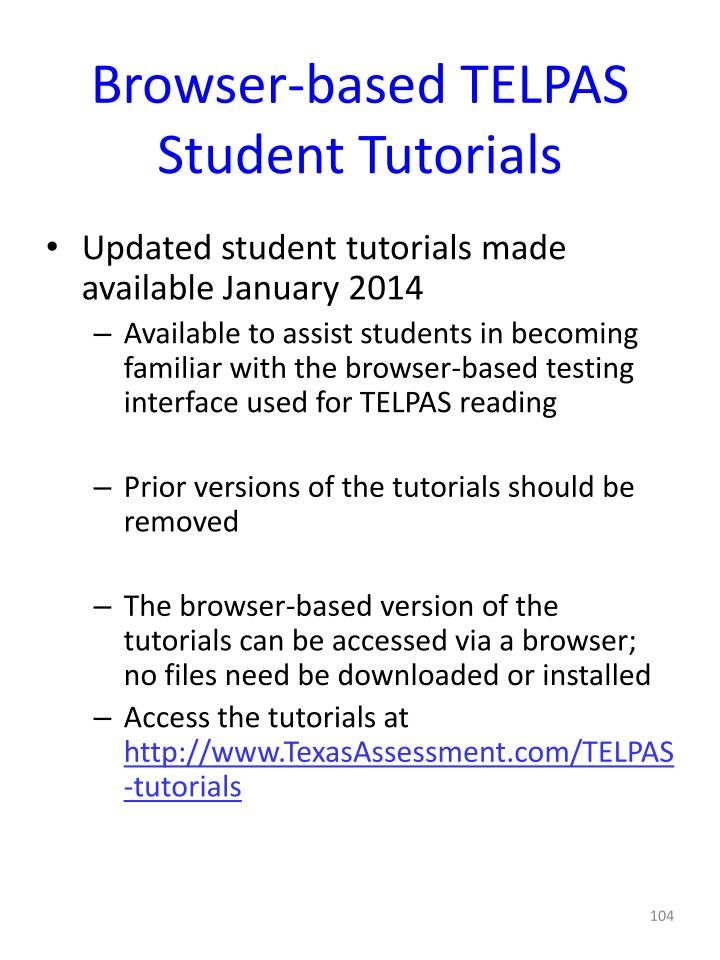Browser-based TELPAS Student Tutorials